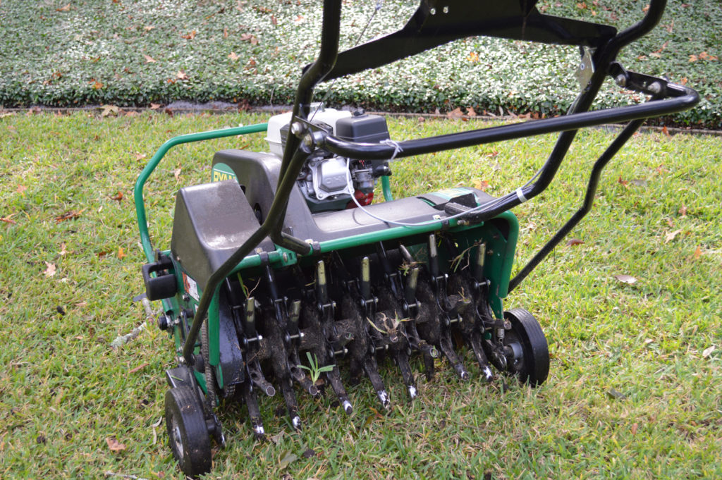 Fall aeration and overseeding ...mechanical aeration